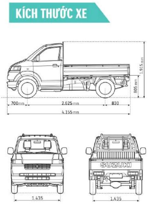 kich thuoc xe tải 750kg
